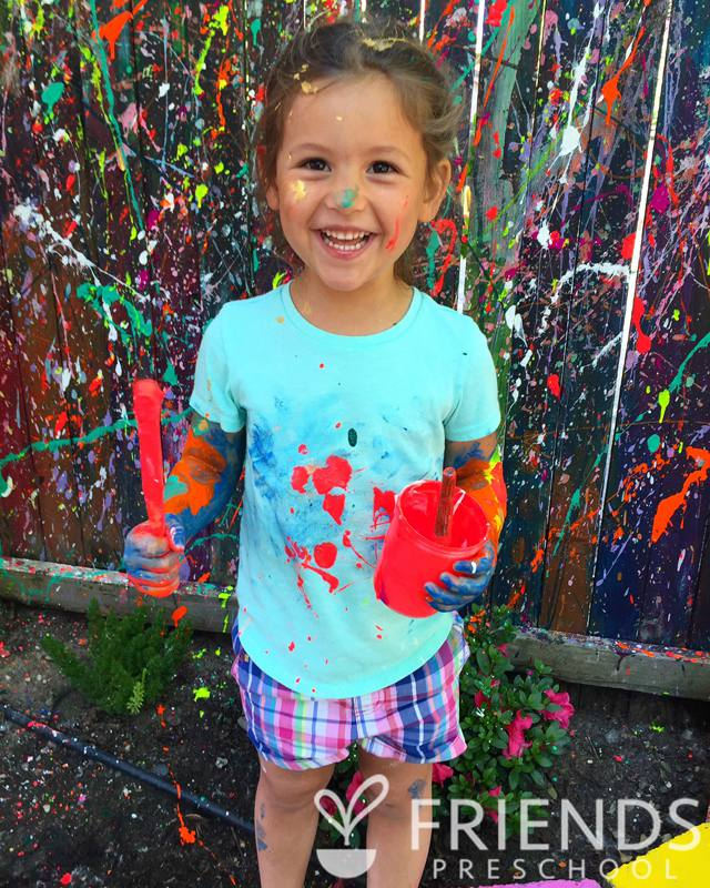 Splatter painting the fence